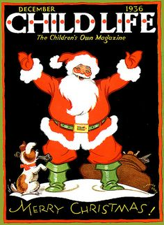 Child Life Santa - vintage magazine for children, Christmas cover
