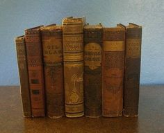 Antique Books 1800's Shabby Victorian Decorator Lot Rustic Reddish Brown, Maroon