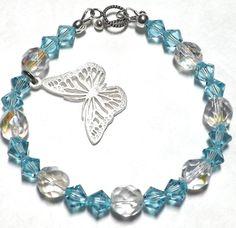 Silver Butterfly Bracelet Swarovski Bracelet by EclecticDesigns