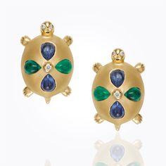 18K Turtle Earrings with blue sapphire, emerald and diamond. | via templestclair