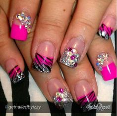 zebra pink and sliver nails with hearts and flowers