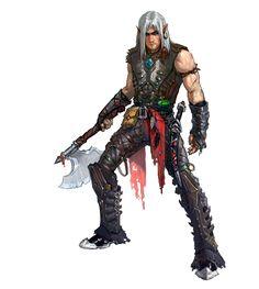 m Elf Rogue Thief Leather axe sword dagger