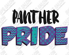 Panther Pride Patterned Chevron, Star, Zebra, and Quatrefoil Sports Team Fan Custom DIY Iron On Vinyl Cutting File in SVG, EPS, DXF, JPEG, and PNG Format