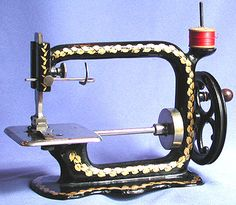 Kimball & Morton are attributed for this fine running stitch machine… Treadle Sewing Machines, Antique Sewing Machines, Sewing Machine Basics, Sewing Machine Accessories, Vintage Sewing Notions, Leather Craft Tools, Old Tools, Vintage Tools, Sewing Toys
