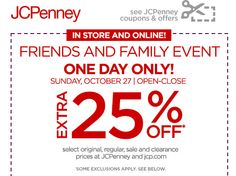 JCPenney $$ Coupon for Extra 25% off – TODAY Only (10/27)!