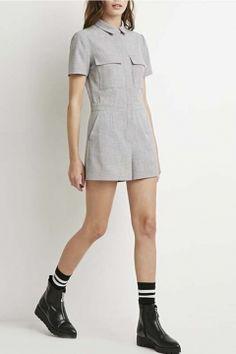 Gray Plain Lapel Short Sleeve Double Pockets Romper