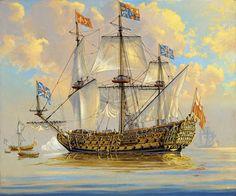Royal Charles, Flagship to King Charles II Old Sailing Ships, Ship Of The Line, Man Of War, Ship Paintings, Nautical Art, Tug Boats, Navy Ships, Ship Art, Royal Navy