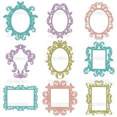 Descargar - Conjunto de vectores de siluetas de marco barroco — Ilustración de stock #23239854