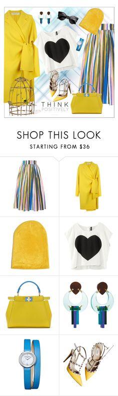 """Tata Naka Gathered High Waist Skirt"" by margaritakhanina ❤ liked on Polyvore featuring Tata Naka, Victoria, Victoria Beckham, Fendi, Toolally, Baume & Mercier, Valentino, Spring and yellow"