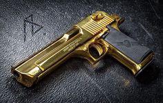 The Golden Retriever Desert Eagle, Custom Guns, Guns And Ammo, Revolver, Airsoft, Firearms, Hand Guns, Weapons, Bronze