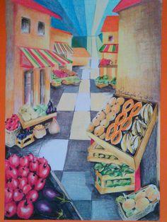 Rosângela Vig Arte com lápis e em telas : Mercado de Frutas - lápis de cor