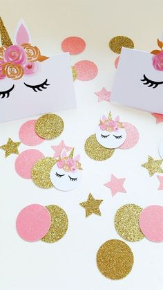 Pink and Gold Unicorn Party Confetti - Party Business Garden Party Decorations, Birthday Party Decorations, Party Garden, Garden Theme, Party Favors, Deco Ballon, Gold Bouquet, Party Food Themes, Party Ideas