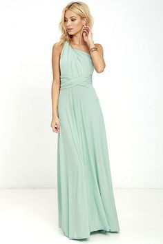 """Lulus Exclusive! Versatility at its finest, the Tricks of the Trade Light Sage Maxi Dress knows a trick or two... or four! Two, 76"""" long lengths of minty-sage fabric sprout from an elastic waistband and wrap into a multitude of bodice styles including halter, one-shoulder, cross-front, strapless, and more. Stretchy, jersey knit hugs your curves as you discover new ways to play with this fascinating frock. Full, maxi-length skirt has a raw hemline. Want Styling Tips? <a href='..."""