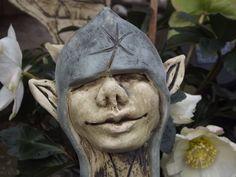 Fantasiefigur Kobold Keramik Unikat Beetstecker von Elfenflüstern ® auf DaWanda.com