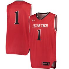 #1 Texas Tech Red Raiders Under Armour Replica Basketball Performance Jersey - Red - $74.99