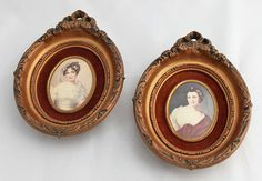 Pair of Oval Cameo Creations with Faux Gilt Frames via Etsy