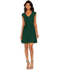$80 Bar III Cap-Sleeve Fit & Flare Dress - Dresses - Women - Macy's