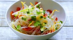 Light glass #noodle #salad for a vegan meal with cucumbers, soy sauce and ginger…
