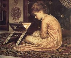 Lord Frederick Leighton Study: At a Reading Desk Oil on canvas 1877 x cm Sudley House, Mossley Hill (Liverpool, United Kingdom) People Reading, Girl Reading Book, Reading Art, Woman Reading, Kids Reading, Reading Books, Happy Reading, Charles Edward, Frederick Leighton