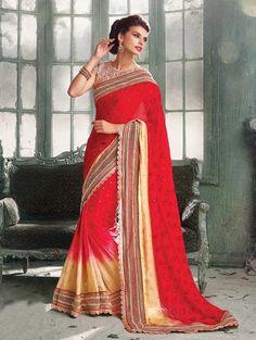 Red and Cream Crepe Jacquard Saree with Diamond Work