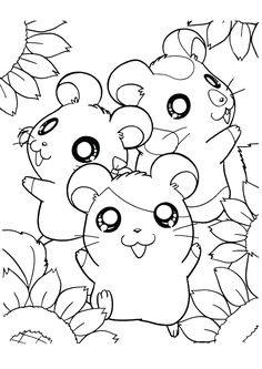 Bear Coloring Pages, Flower Coloring Pages, Coloring Pages To Print, Printable Coloring Pages, Coloring Pages For Kids, Free Coloring, Coloring Books, Hamtaro, Mandala Dragon