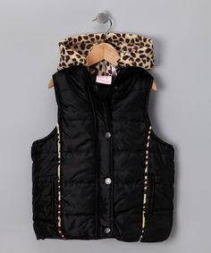 Pink Platinum Black Leopard Hooded Puffer Vest - Girls