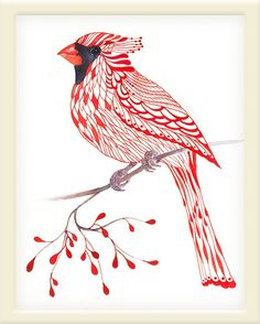 Cardinal Bird lacy cardinal on branch art print size by TevaKiwi