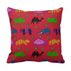 Animals - Purple Turtles & Blue Elephants Throw Pillows $32.95