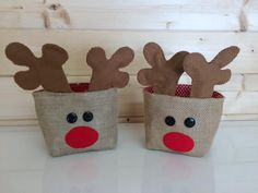 This is a listing for a digital download tutorial for a Christmas reindeer basket. The basket is approx. 10cm x 10cm x 10cm (plus antlers!), when finished. It will take approx. 2 hours to complete depending on your experience.  For this project you will need - Hessian, calico, a festive lining fabric (spots and stars work well), red felt, brown felt, 2 x 2cm black buttons, 2 x 30cm pipe cleaners (any colour), red, black and brown embroidery thread. There is some handsewing involved in this…