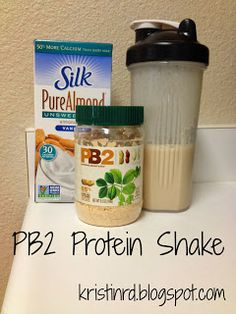 8 oz. unsweetened almond/soy milk {I used Silk} 1 scoop vanilla protein powder  2 Tbsp PB2