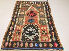 Traditional Turkish Kilim Rug shabby vintage wool country home Kelim