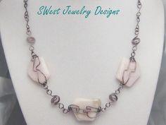 Sabrina Pink Opal Necklace by SwestJewelryDesigns on Etsy