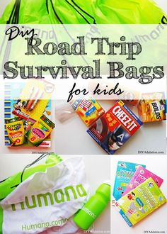 Road trips drag when kids start getting cranky and hungry an hour into the drive. Save your sanity with these DIY road trip survival bags.