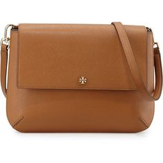 Tory Burch Robinson Leather Messenger Bag ($450) ❤ liked on Polyvore featuring bags, messenger bags, handbags, tory burch, messenger bag, flap messenger bag, zip bags and brown leather bag