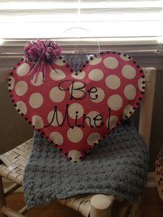 Pink Heart Burlap Door Hanger. $28.00, via Etsy.