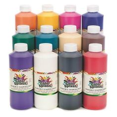 S Worldwide Color Splash!® Washable Tempera Paint, 16 Oz. (Set of 12) by Color Splash. $29.99. Makes a great poster paint.. Non-flaking and easy to use.. Fast drying, great color variety.. Paint washes clean with soap and water.. Bold colors wash clean with soap and water. Great poster paint. Includes: red, blue, yellow, green, orange, purple, turquoise, black, white, peach, magenta and brown. Colors may vary. 16-oz. bottles. Non-toxic. Arts & Creative Materials Institut...