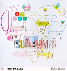 """I really like the stitching on this one.  (""""Love Summer"""" layout by Paige Evans)"""