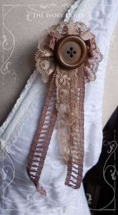 REDUCED 20% OFF ~ OOAK Shabby Chic 'Dusty Treasures' Mori Girl Woodland Brooch made with Antique Lace ~ by The Ivory Dolls