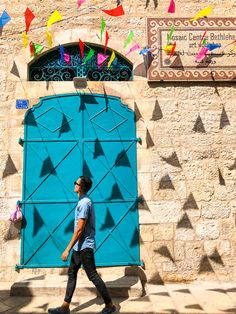 Walking down the stunning sandstone adorned 'Star' Street in the little town of Architecture Old, Bethlehem, Holy Land, Old City, Travel Couple, Exterior Paint, Jerusalem, Middle East, Wanderlust