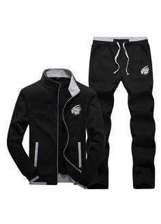 39cc4775ab7a1 Zity Men s Tracksuit Sports Sets Zip Up Jacket   Pants Black Large (US 34)