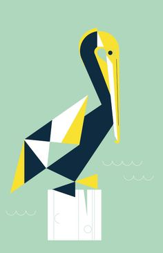 Saltwater print by Eleanor Grosch, pelican
