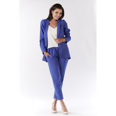Sacou albastru dama usor asimetric Duster Coat, Suits, Casual, Jackets, Fashion, Down Jackets, Moda, Fashion Styles, Suit