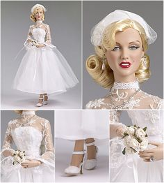 SHIPBOARD WEDDING MARILYN MONROE   This outfit is based on a scene in the 1953 movie, 'Gentlemen Prefer Blondes.' She is wearing a white lace and tulle dress ankle-length wedding dress, a white taffeta headpiece with veil,  imitation pearl earrings, a rhinestone ring, a rhinestone necklace, a bouquet of white flowers, nude pantyhose with attached panties, and white lace shoes. Limited edition of 300 pieces. (2013) | Tonner Doll Company
