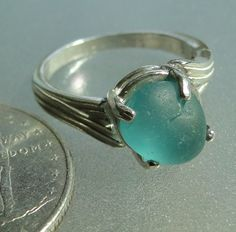 English sea glass sterling silver ring