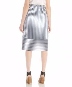 A striped midi skirt by J.O.A. Crafted from lightweight cotton poplin, this nautical-inspired design has an elastic waist and convenient side pockets. - Material: 100% Polyester - Lining: 100% Cotton