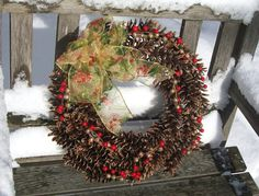 Christmas Pine Cone Wreath, gold and red.  www.etsy.com/shop/NaturesCraftSupply