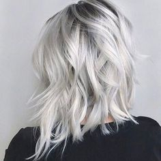 icy blonde with black highlights