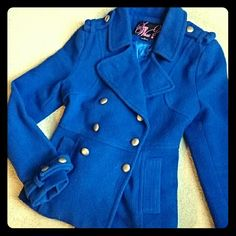 *SOLD in bundle* Wool double breasted peacoat Blue peacoat with silver buttons. There is a little bit of rust on one of the buttons (see picture 3). It's been in my closet for a while and I haven't gotten the chance to wear it very often. Gently worn, in excellent condition. Jackets & Coats Pea Coats