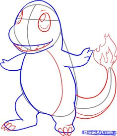 how to draw charmander from pokemon step 4