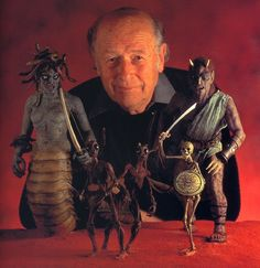 "Ray Harryhausen with some of his creations for ""Clash of the Titans"" (1981); his last stop-motion movie."